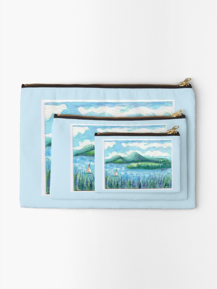 Alternate view of Lake Water, River and Boat,  Sky Clouds and Mountain, Serene Watercolor, mini artwork Zipper Pouch