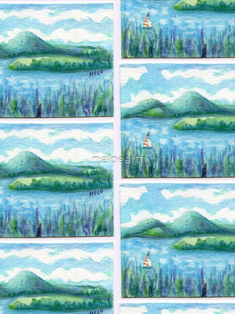 Lake Water, River and Boat,  Sky Clouds and Mountain, Serene Watercolor, mini artwork by meloearth