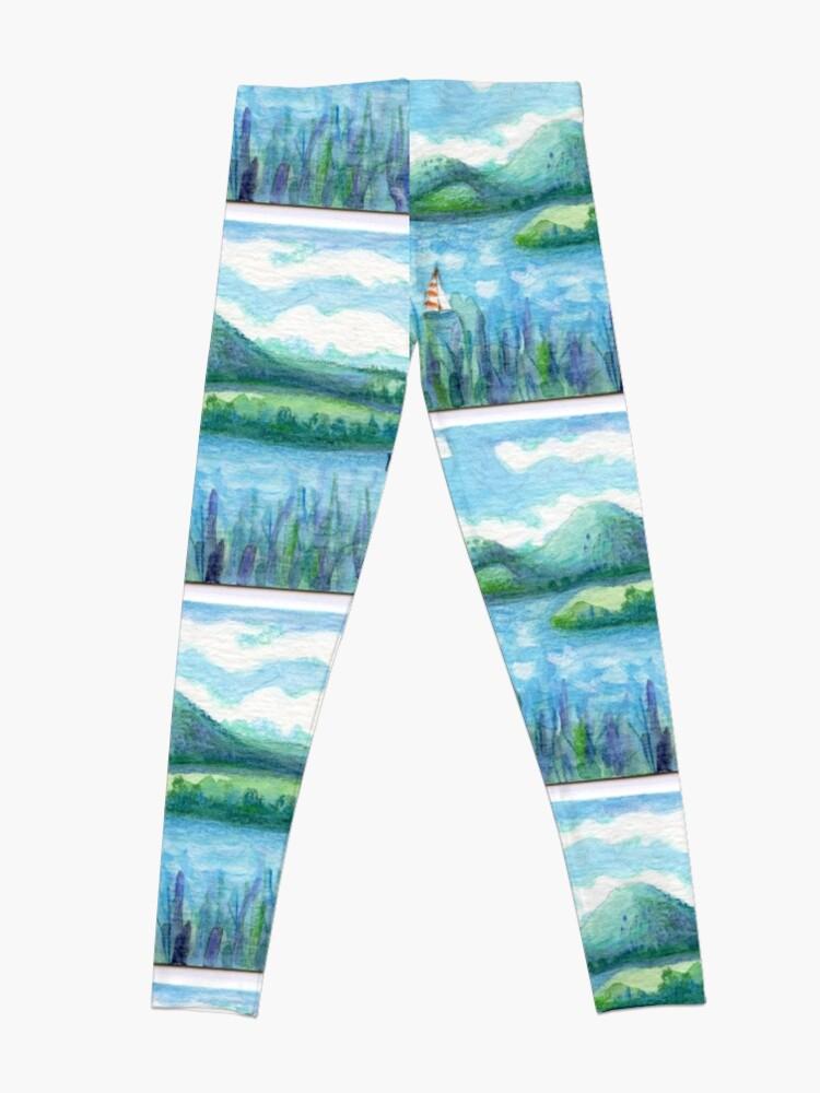 Alternate view of Lake Water, River and Boat,  Sky Clouds and Mountain, Serene Watercolor, mini artwork Leggings