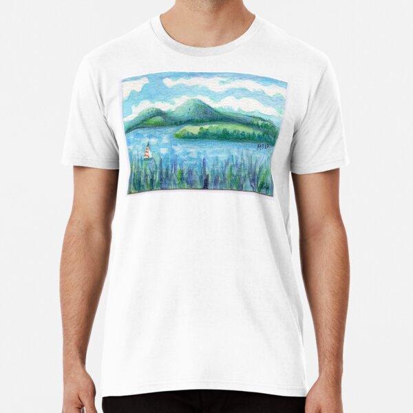 Lake Water, River and Boat,  Sky Clouds and Mountain, Serene Watercolor, mini artwork Premium T-Shirt