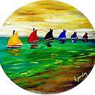 Boats In A Row by WhiteDove Studio kj gordon