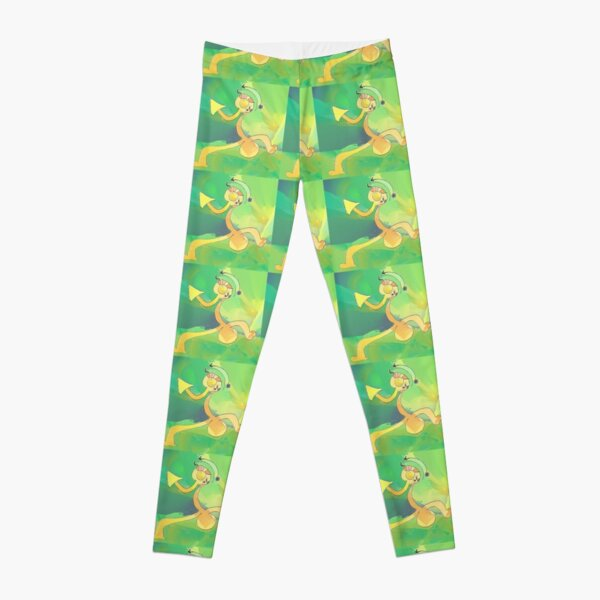 Dancing Gardener Abstract Art Green & Gold Leggings
