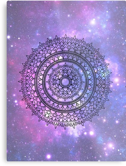 Hand Drawn Mandala On Pretty Purple Galaxy Star Background Metal