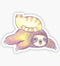 Sloth and Tabby Cat Sticker