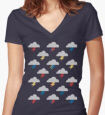 Thunderclouds Women's Fitted V-Neck T-Shirt