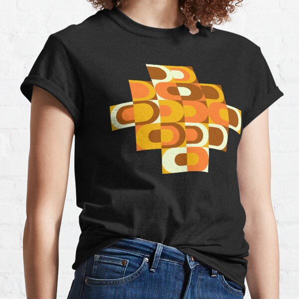 70s Pattern Retro Inustrial in Orange and Brown Tones Classic T-Shirt