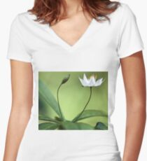 Starflower With New Bud Women's Fitted V-Neck T-Shirt