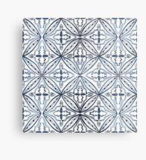 Watercolor Morrocan Tile Blue Metal Print