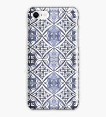 Watercolor Morrocan Tile pattern blue iPhone Case/Skin