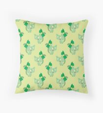 Green Ribbon Cat Pattern Throw Pillow