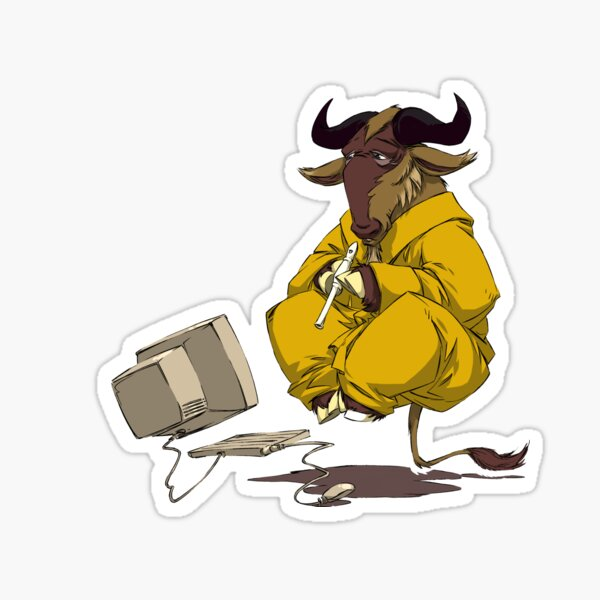 Meditating GNU Playing a Flute Sticker