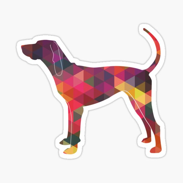 American English Coonhound Geometric Pattern Silhouette Multi Sticker