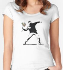 Flower man - Street art Women's Fitted Scoop T-Shirt