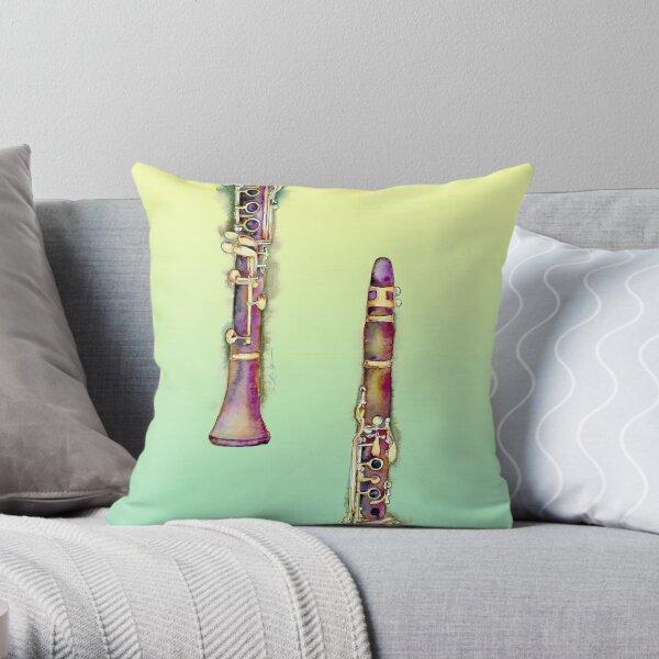 B Flat Clarinet by Jamie Hansen Throw Pillow