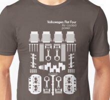 VW Air Cooled Flat Four Engine Parts - White Print Unisex T-Shirt