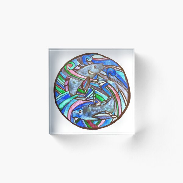 Fish stained Glass Acrylic Block