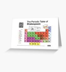 Periodic Table of Shakespeare [old version] Greeting Card