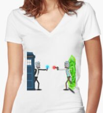 RICKTIONS IN TIME AND SPACE Women's Fitted V-Neck T-Shirt
