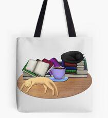 Cat Nap with Books & Tea (Black & Ginger) Tote Bag
