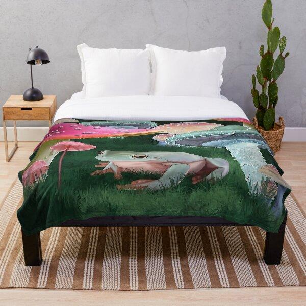 Mushroom Frog Throw Blanket