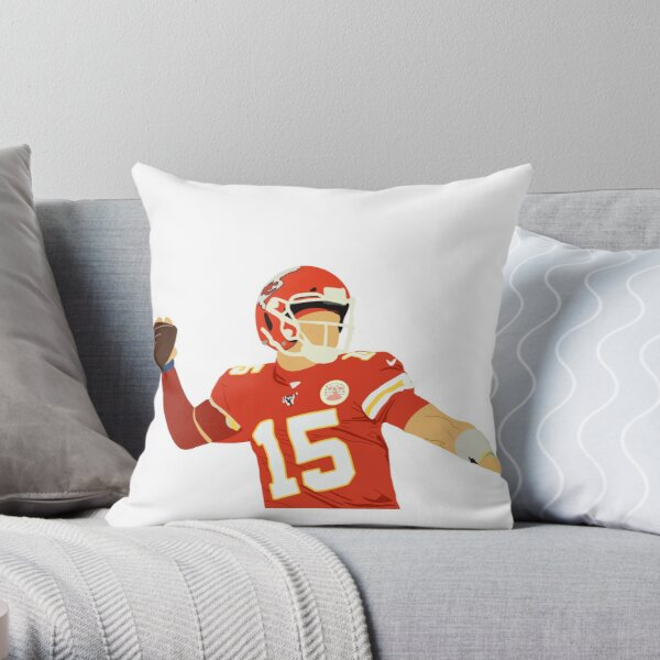 Patrick Mahomes from Kansas City Chiefs Number 15 Faceless Portrait Throw Pillow