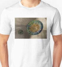 Stylized Sun - Antoni Gaudi Ceiling Medallion at Hypostyle Room in Park Guell - Right Horizontal Unisex T-Shirt