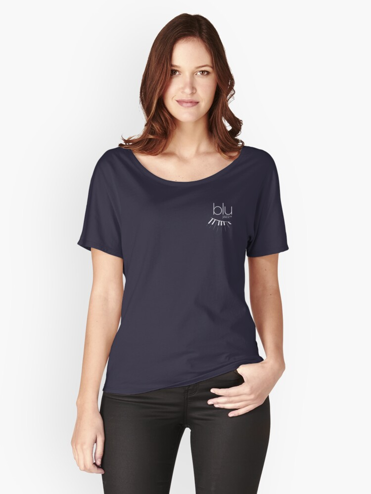 BLU Logo (white, 1-color) Women's Relaxed Fit T-Shirt Front
