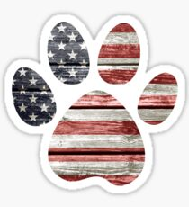 Dog Paw Print, American Flag Sticker