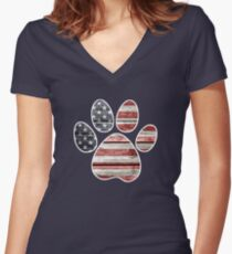 Dog Paw Print, American Flag Women's Fitted V-Neck T-Shirt