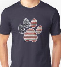Hundetatzen-Druck, amerikanische Flagge Unisex T-Shirt