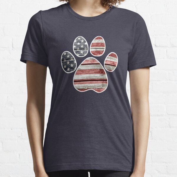 Dog Paw Print, American Flag Essential T-Shirt