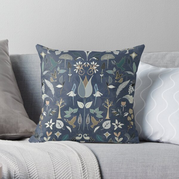 William Morris Inspired Art Nouveau Victorian Embroidery Style Pattern. Dusky blue. Throw Pillow