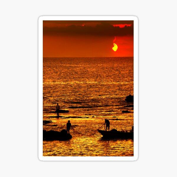 Sunset fishing Sticker