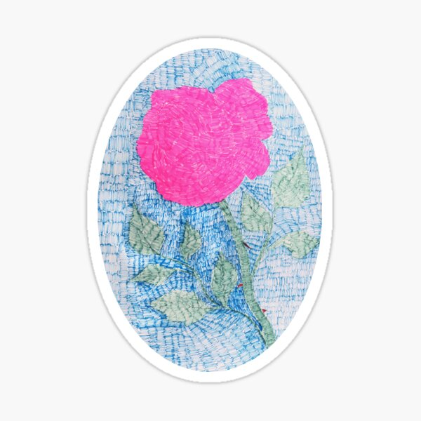 Pen and Ink Vibrant Rose Sticker