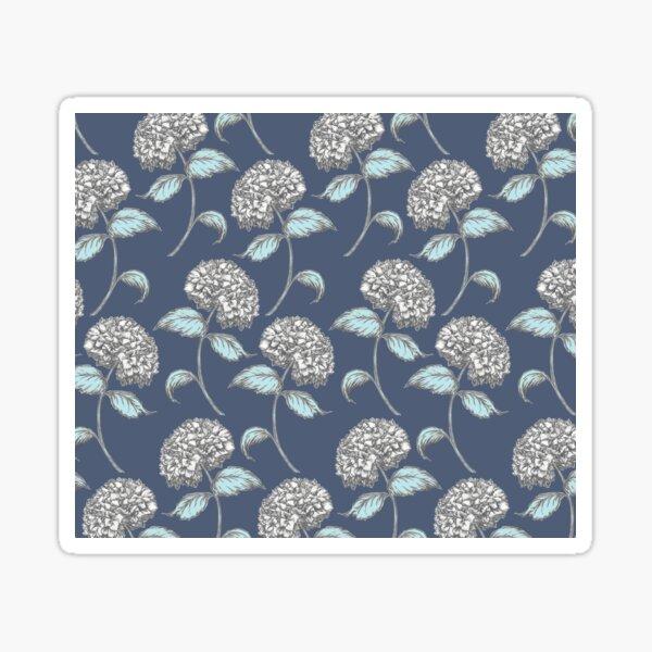 Hydrangea Vintage Floral Pattern in Blue Sticker