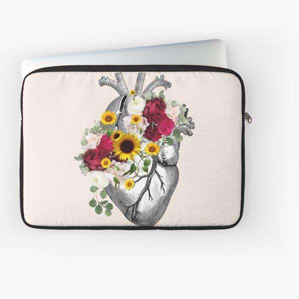 Human heart illustration art, dark roses and sunflowers,  plants lovers, vintage effect Laptop Sleeve