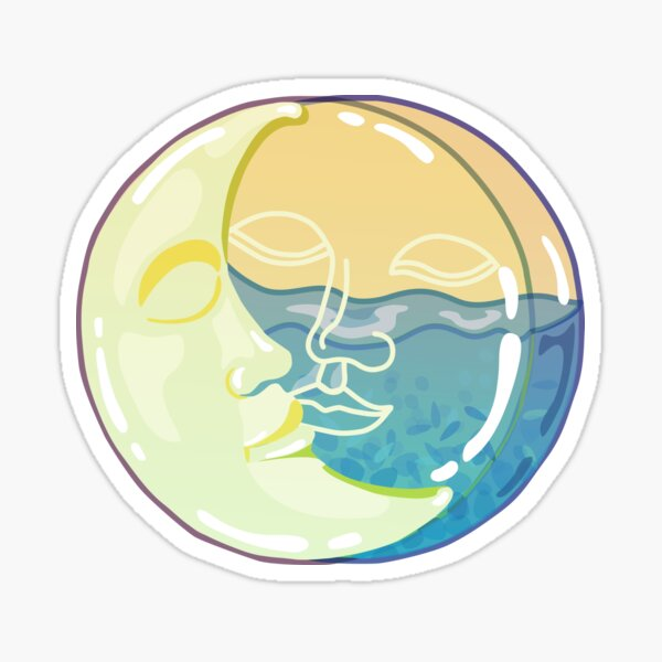 Vintage solar eclipse sun and moon faces Sticker