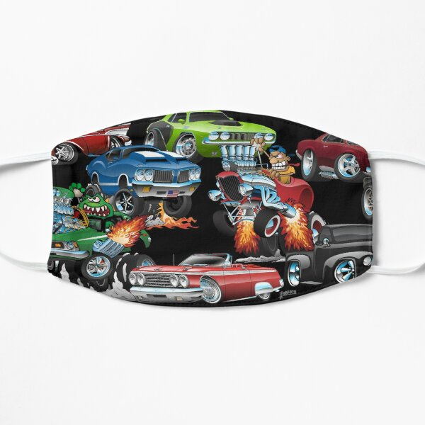 Car Madness!  Muscle Cars and Hot Rods Cartoon Flat Mask