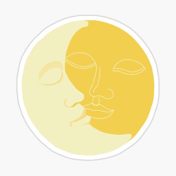 Vintage Solar Eclipse -  Sun and Moon Faces Sticker