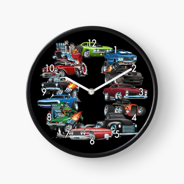 Car Madness!  Muscle Cars and Hot Rods Cartoon Clock