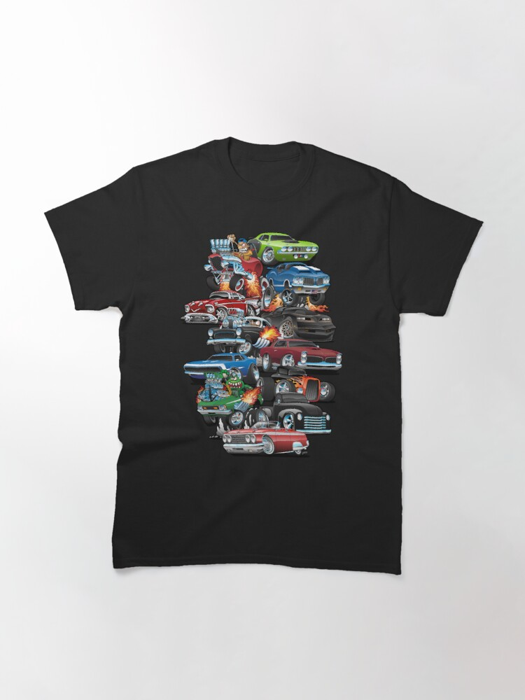 Alternate view of Car Madness!  Muscle Cars and Hot Rods Cartoon Classic T-Shirt
