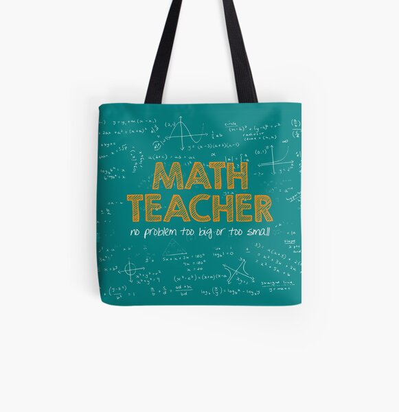 Math Teacher (no problem too big or too small) - green All Over Print Tote Bag