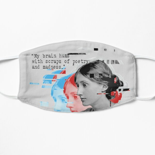 Virginia Woolf portrait and quote Flat Mask