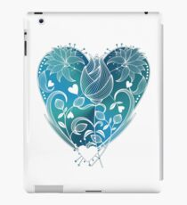 White Inked Floral Blue Heart iPad Case/Skin