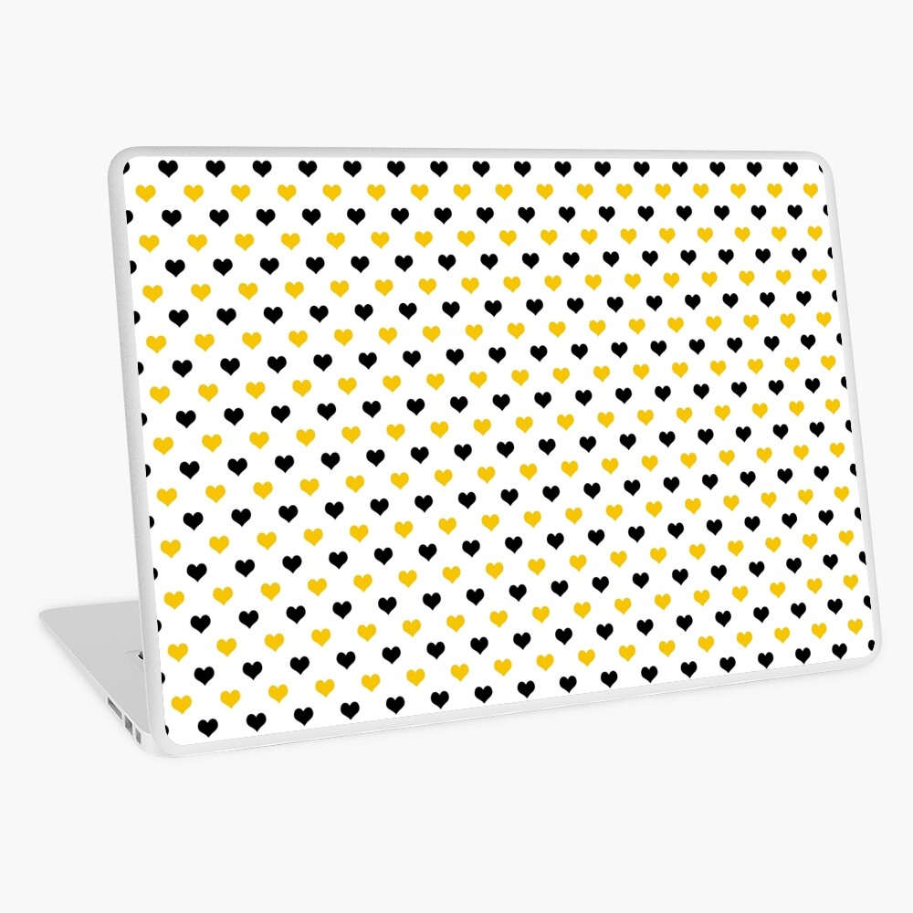 Yellow and Black Hearts Laptop Skin