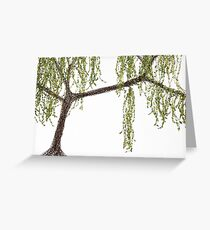 Spring Willow Tree - white Greeting Card
