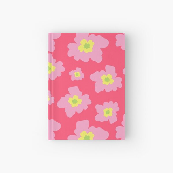 Pink And Yellow Flowers On A Red Background Hardcover Journal