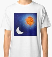 Sun and moon in the sky. Polygonal graphics Classic T-Shirt