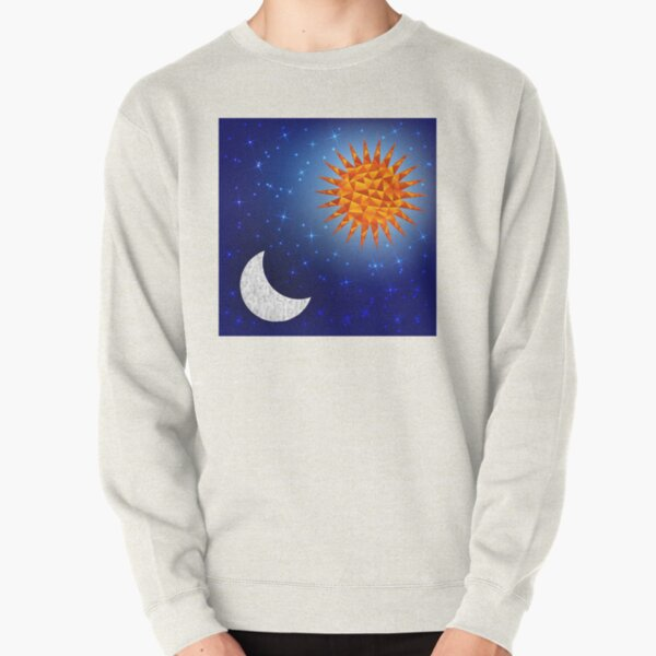 Sun and moon in the sky. Polygonal graphics Pullover Sweatshirt