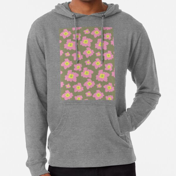Pink And Yellow Flowers On A Olive Green Background Lightweight Hoodie